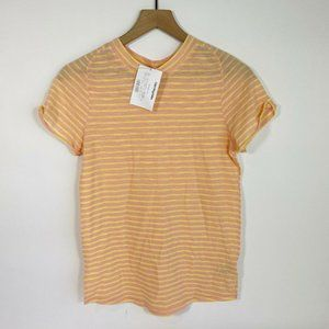 Free People WTF Yellow Striped Round Neck Shirt L